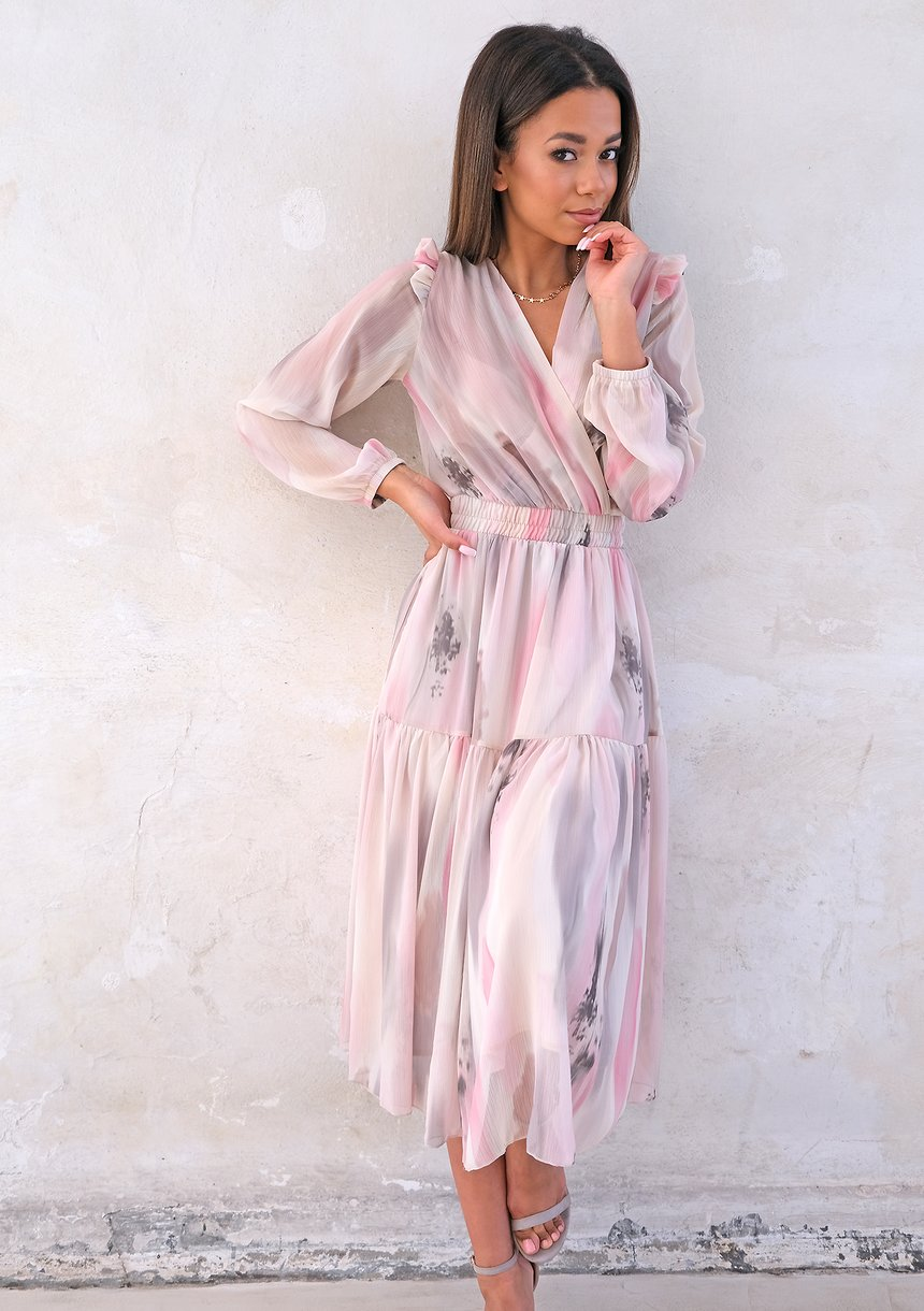 Midi chiffon dress with pink and grey print