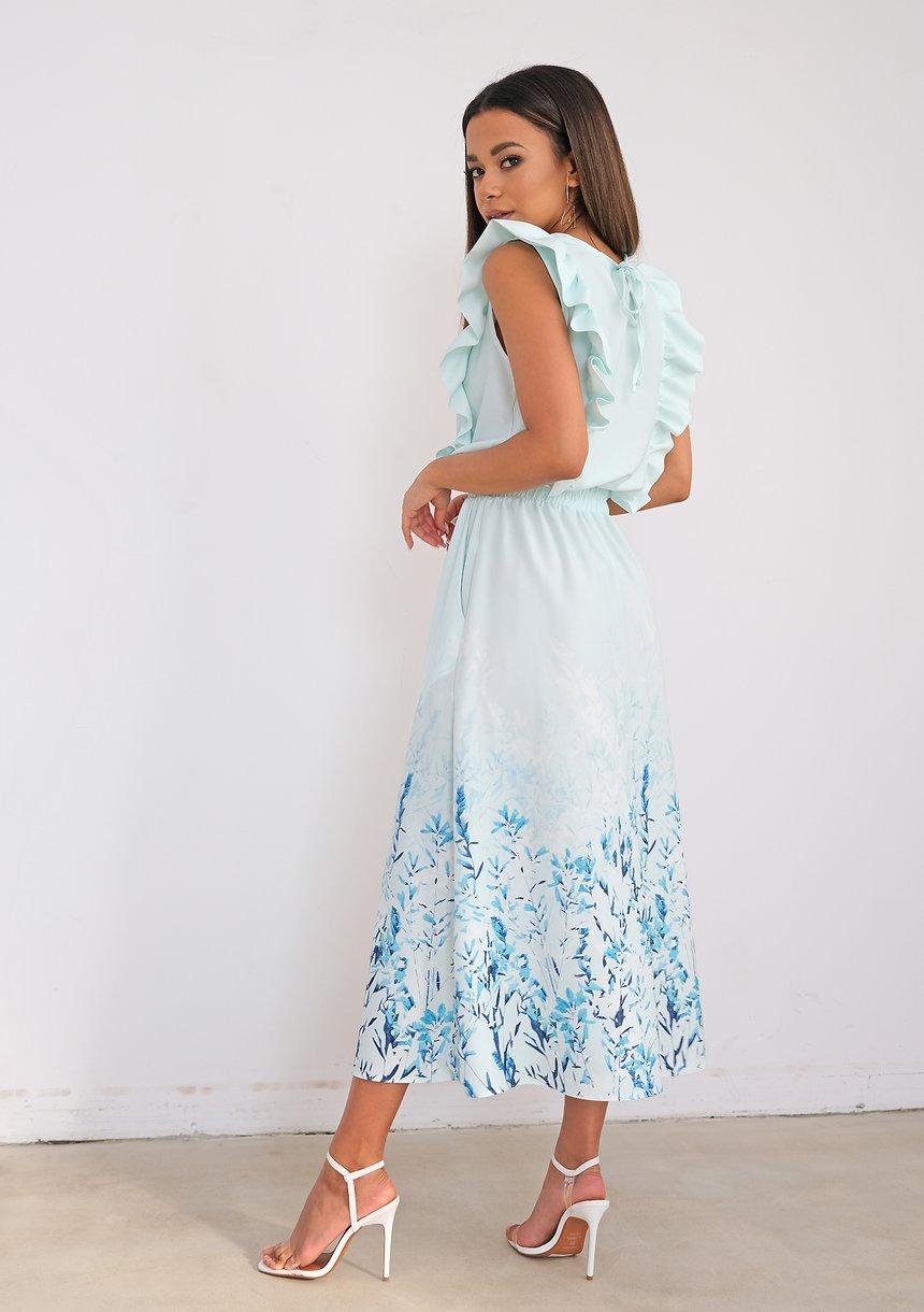 Miętowa sukienka midi z kwiatowym borderem
