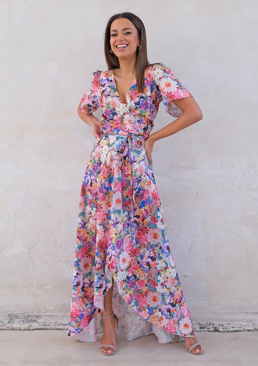 Kopertowa sukienka z asymetrią w kwiaty
