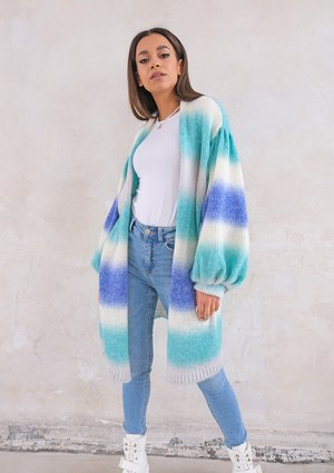 Cardigan with puffed sleeves Ombre Tropic Sea