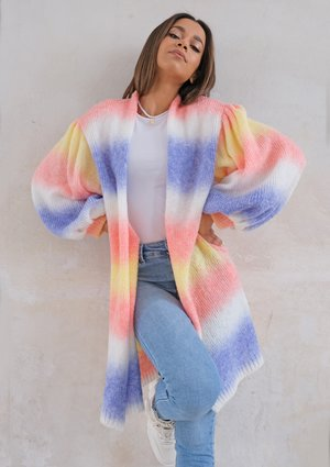 Cardigan with puffed sleeves Ombre Coral