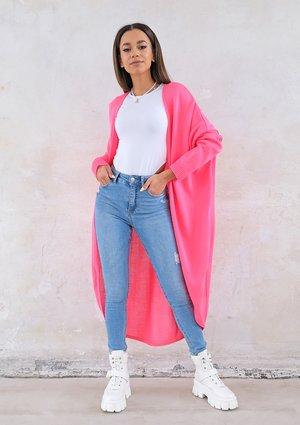 Long lightweight cardigan in neon fuchsia