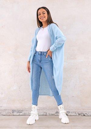 Long lightweight cardigan in light blue
