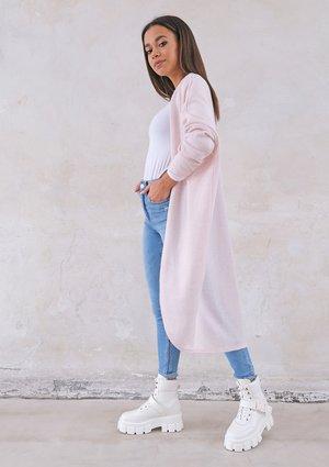 Long lightweight cardigan in powder pink
