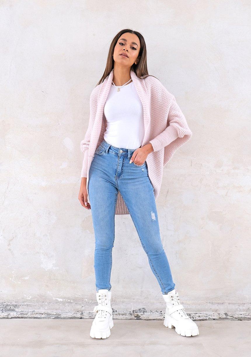 Sweter narzutka OVERSIZE ILM A01 Pudrowy Róż