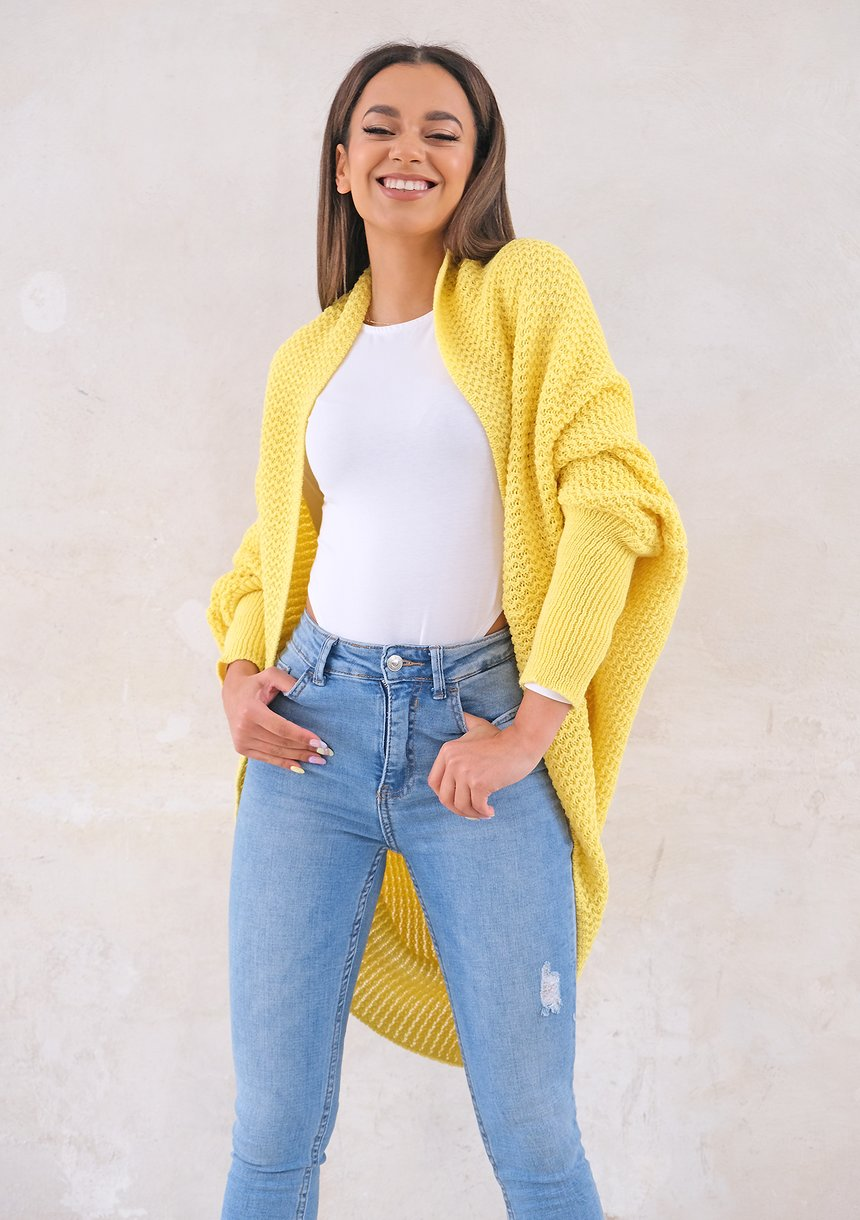 Sweter narzutka OVERSIZE ILM A01 Żółty