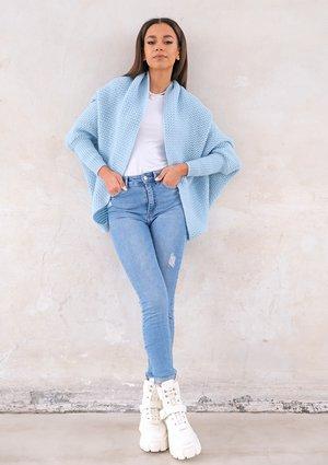 Sweter narzutka OVERSIZE ILM A01 Błękitny