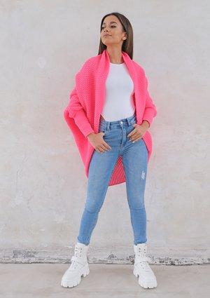Classy cardigan OVERSIZE ILM A01 Neon Fuchsia