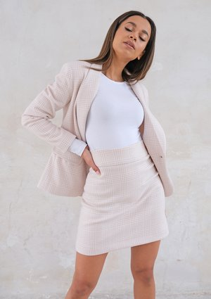 Light checker mini skirt Beige