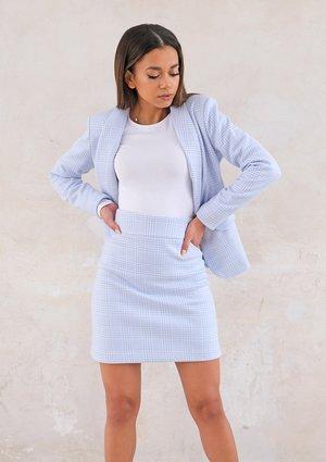Light checker mini skirt Blue