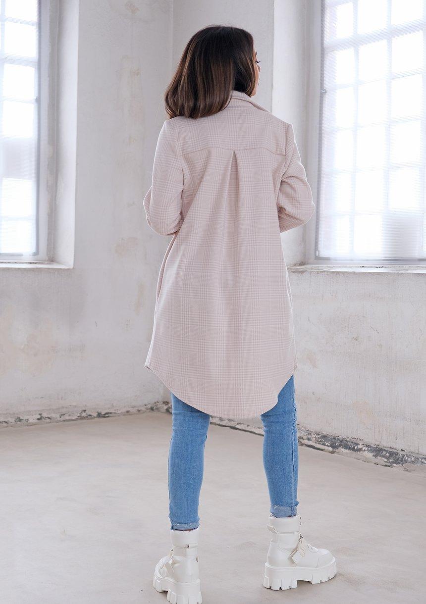 Długa koszula wierzchnia w kratkę Beżowa