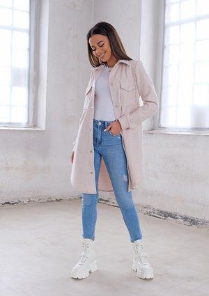 Long shirt style coat Beige