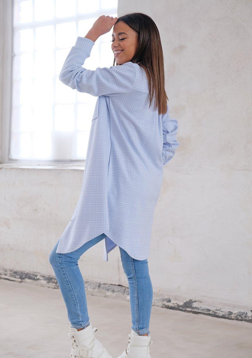 Długa koszula wierzchnia w kratkę Błękitna