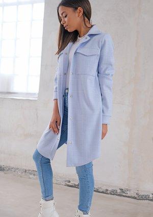 Long shirt style coat Light Blue