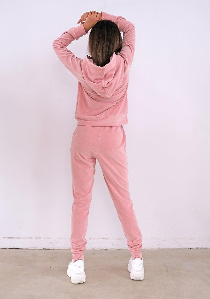 Pink velvet sweatpants with gold rose details