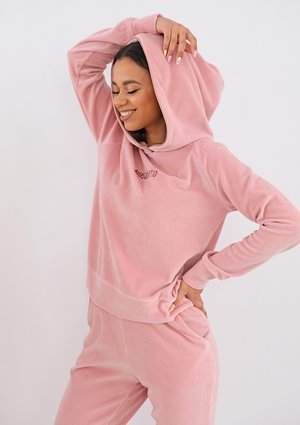 Pink velvet hoodie with rose gold details