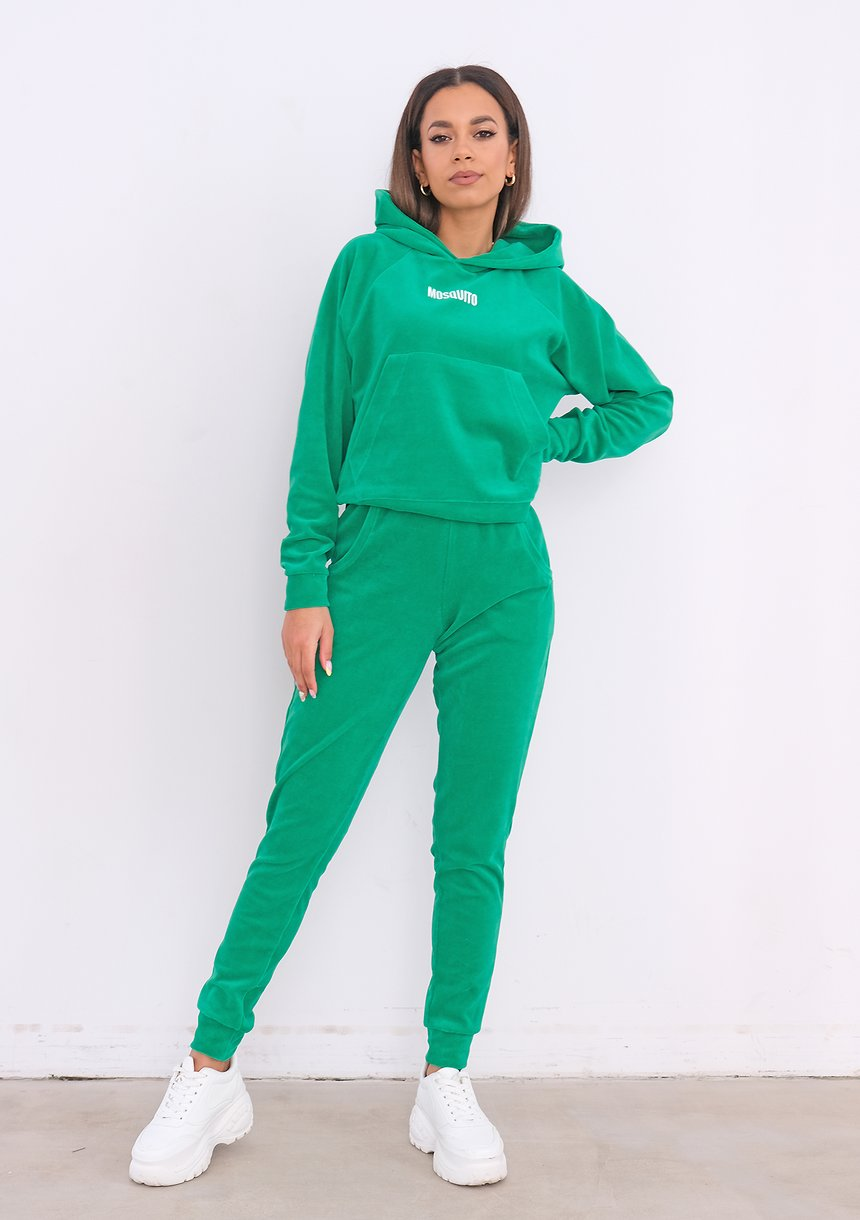 Welurowa bluza z kapturem Vivid Green ILM
