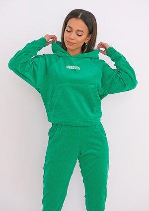Vivid Green velvet hoodie
