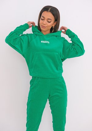 Welurowa bluza z kapturem Vivid Green