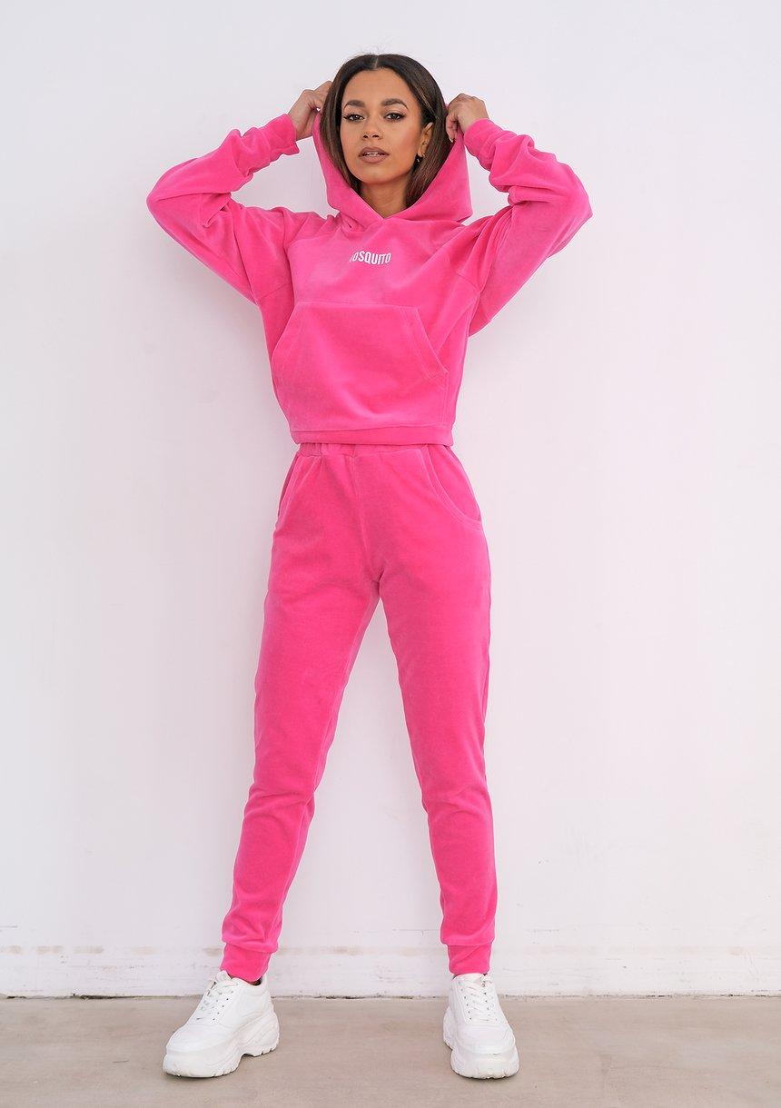 Welurowe spodnie Fuxia Pink