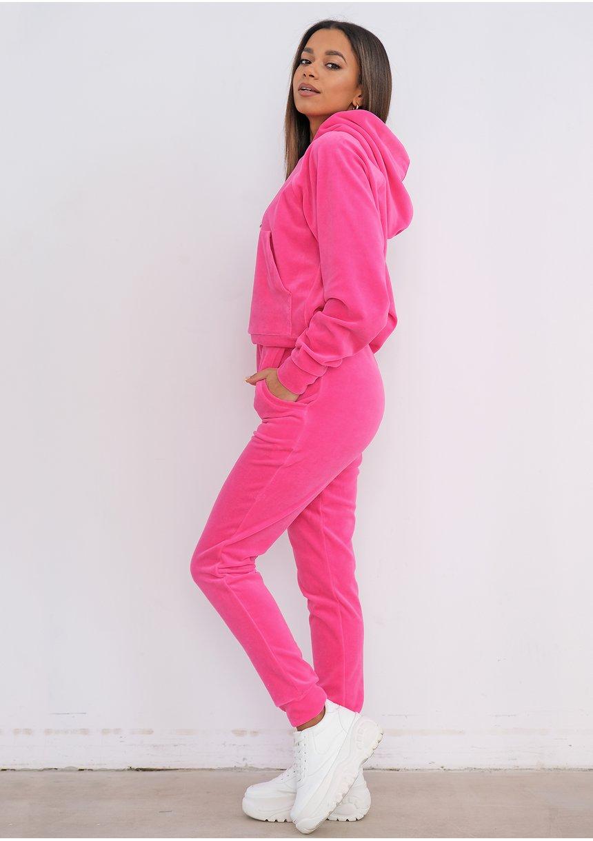 Fuxia Pink velvet sweatpants