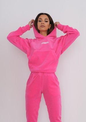 Fuxia Pink velvet hoodie