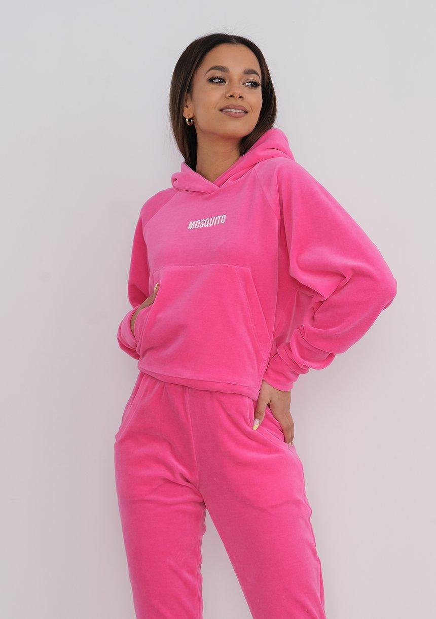 Welurowa bluza z kapturem Fuxia Pink