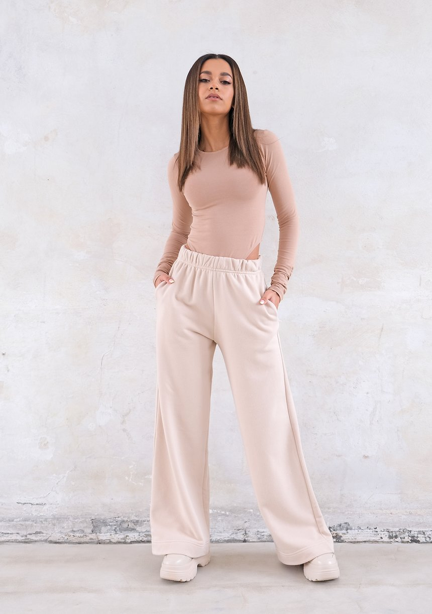 Szerokie spodnie Dune Beige