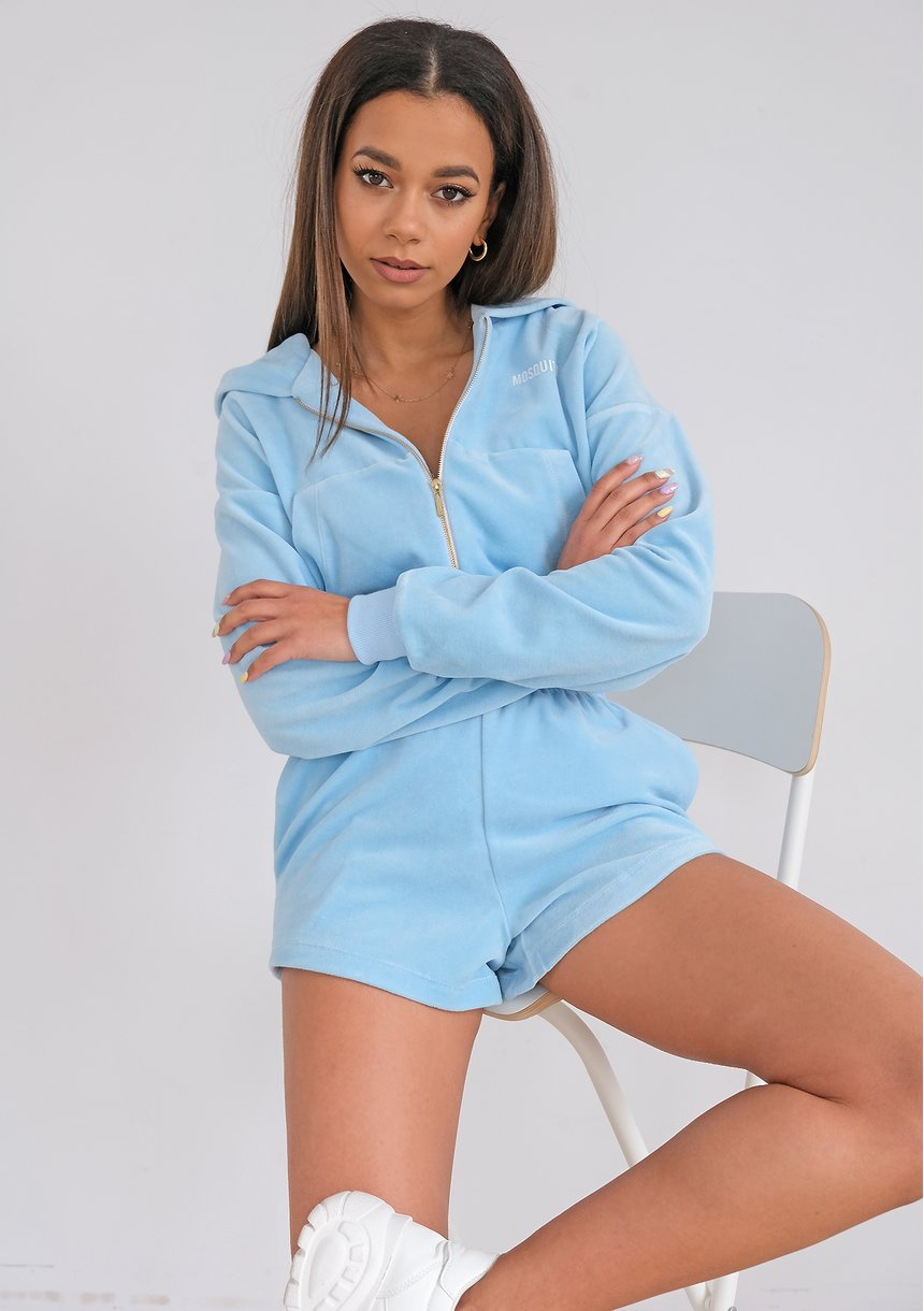 Rozpinana bluza welurowa błękitna