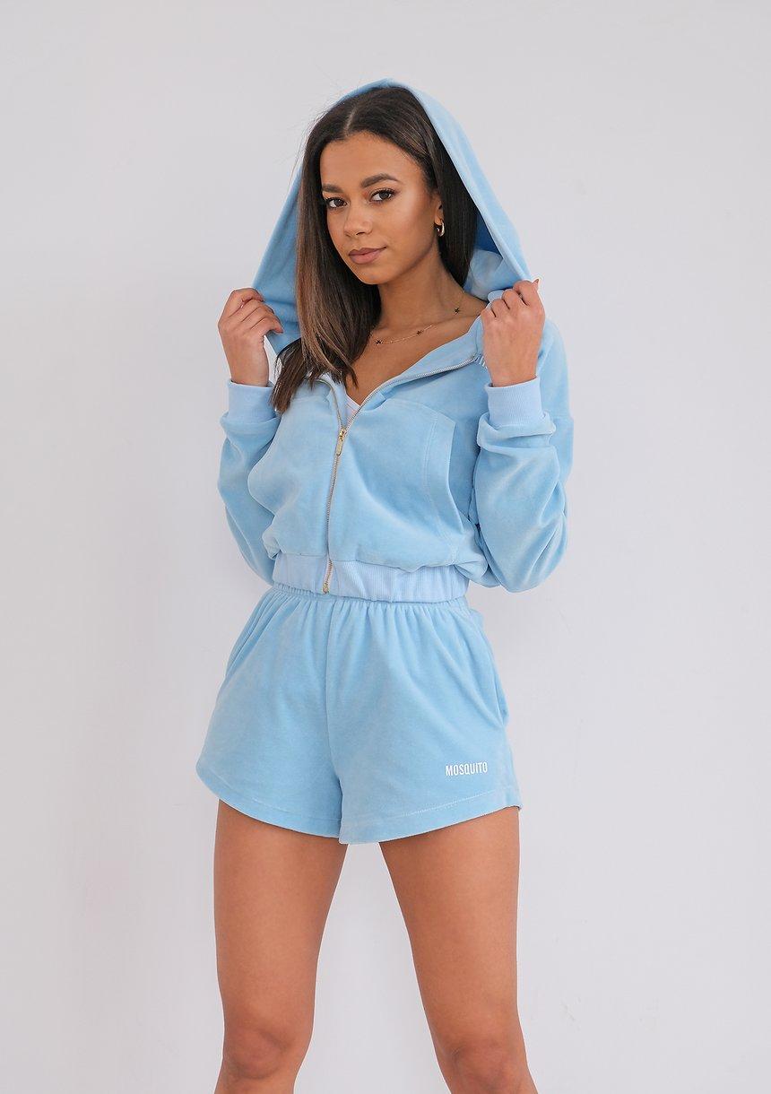Light Blue Velvet Shorts