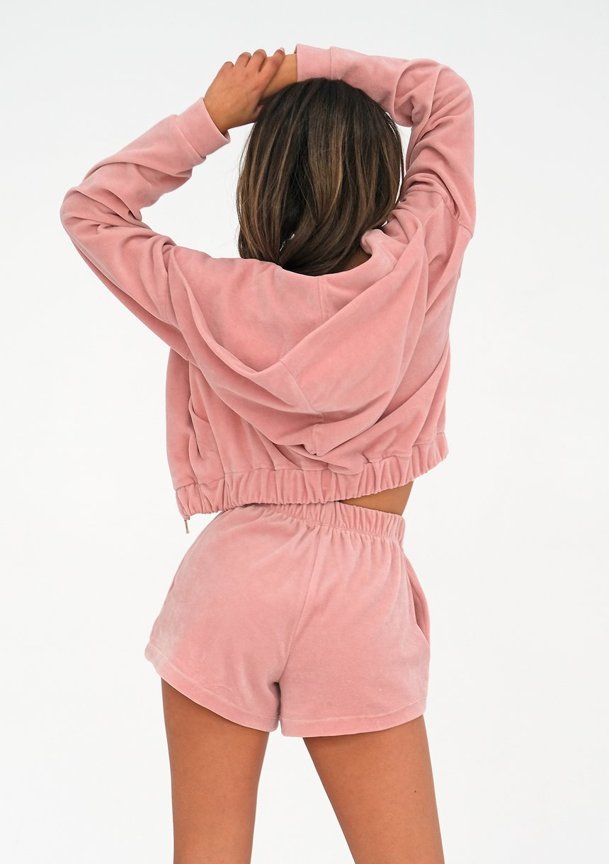 Velvet sweatshirt with a zipper closure Mellow Rose