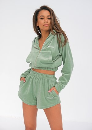 Velvet sweatshirt with a zipper closure Smoke Mint