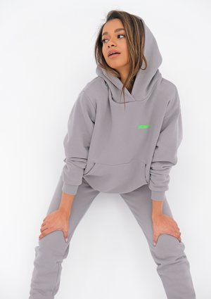 Grey Hoodie with a Lime Logo