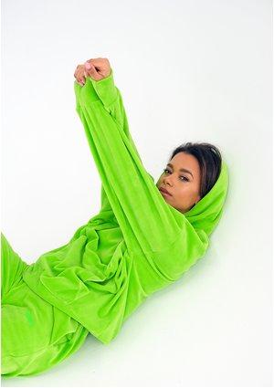 Welurowa bluza z kapturem Neon Lime ILM