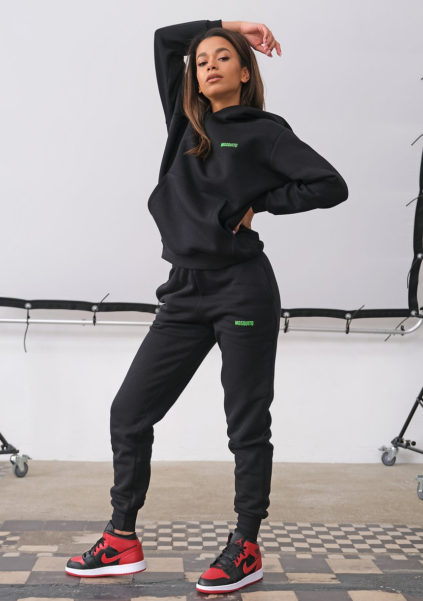 Black Hoodie with a lime logo