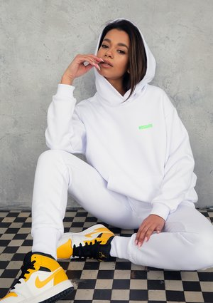White Hoodie with a lime logo
