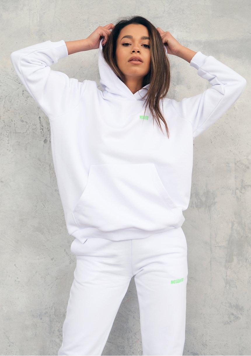 Biała bluza z kapturem Lime Logo ILM