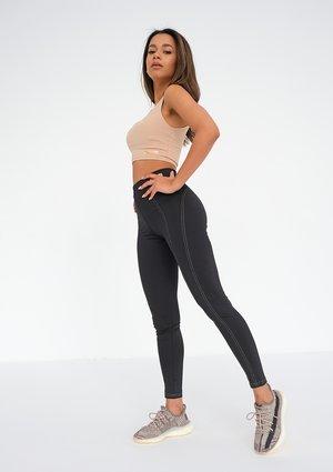 Black Legging with beige seams