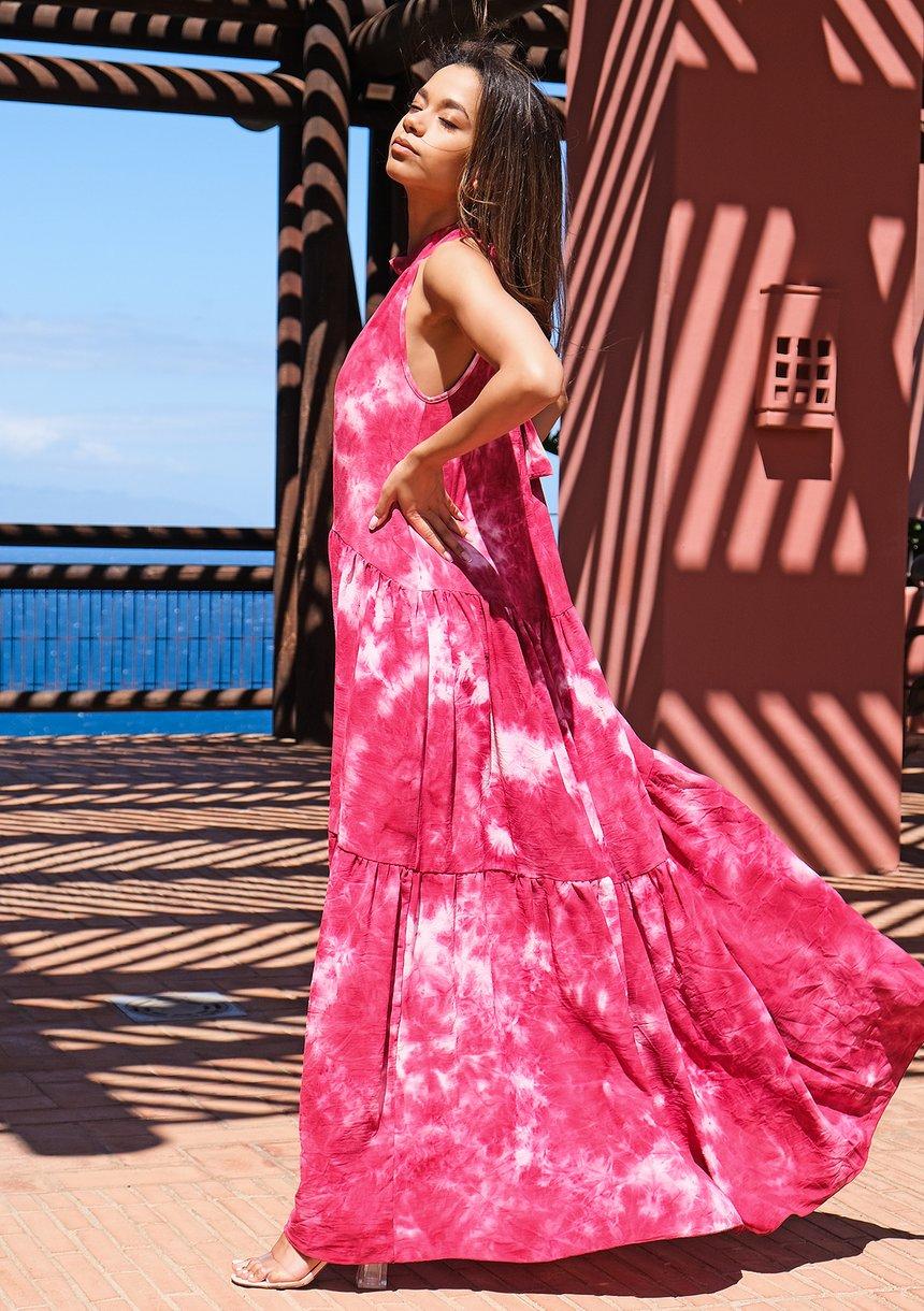 Letnia sukienka maxi tie dye Amarant