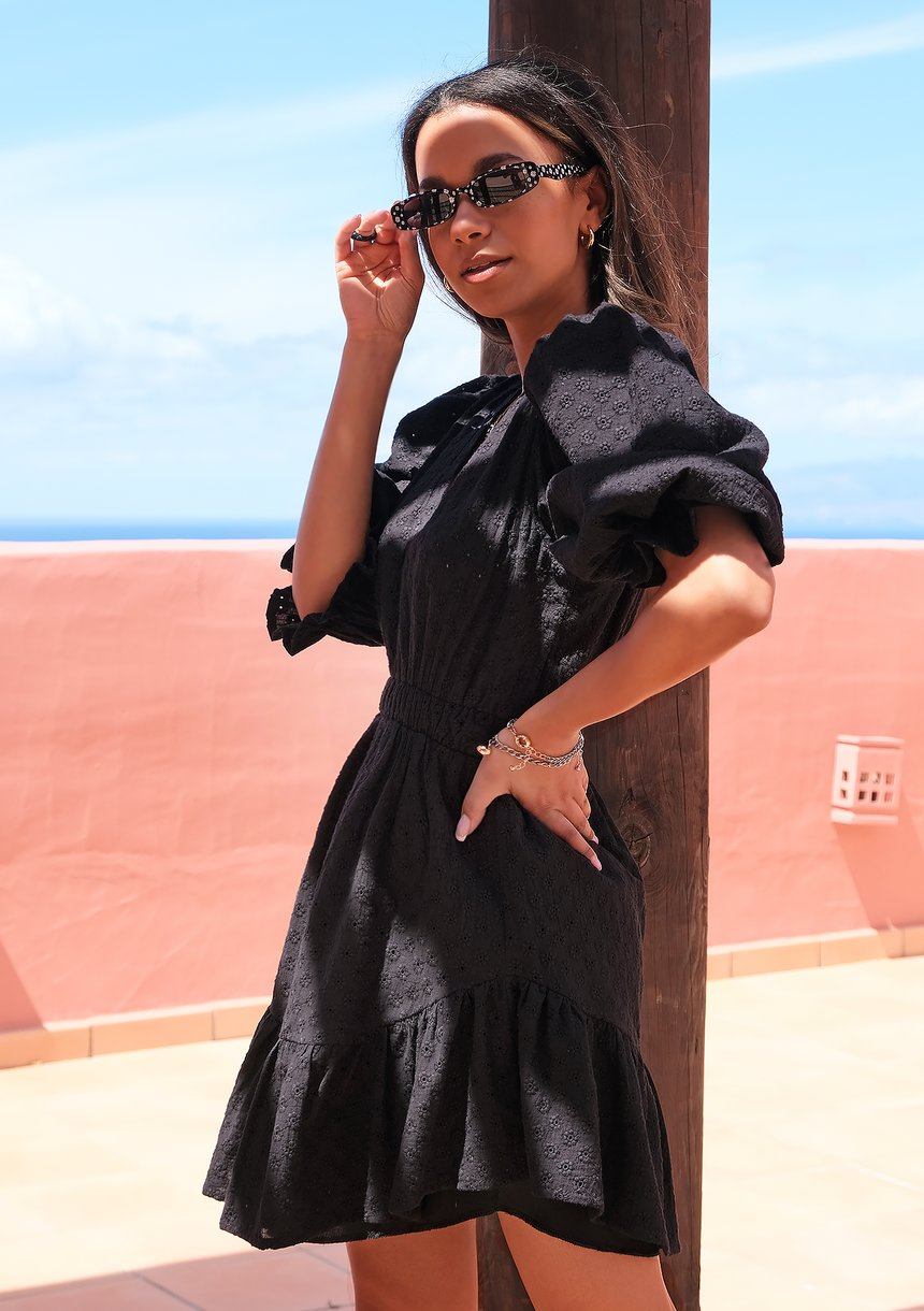 Sukienka boho z bufkami Czarna