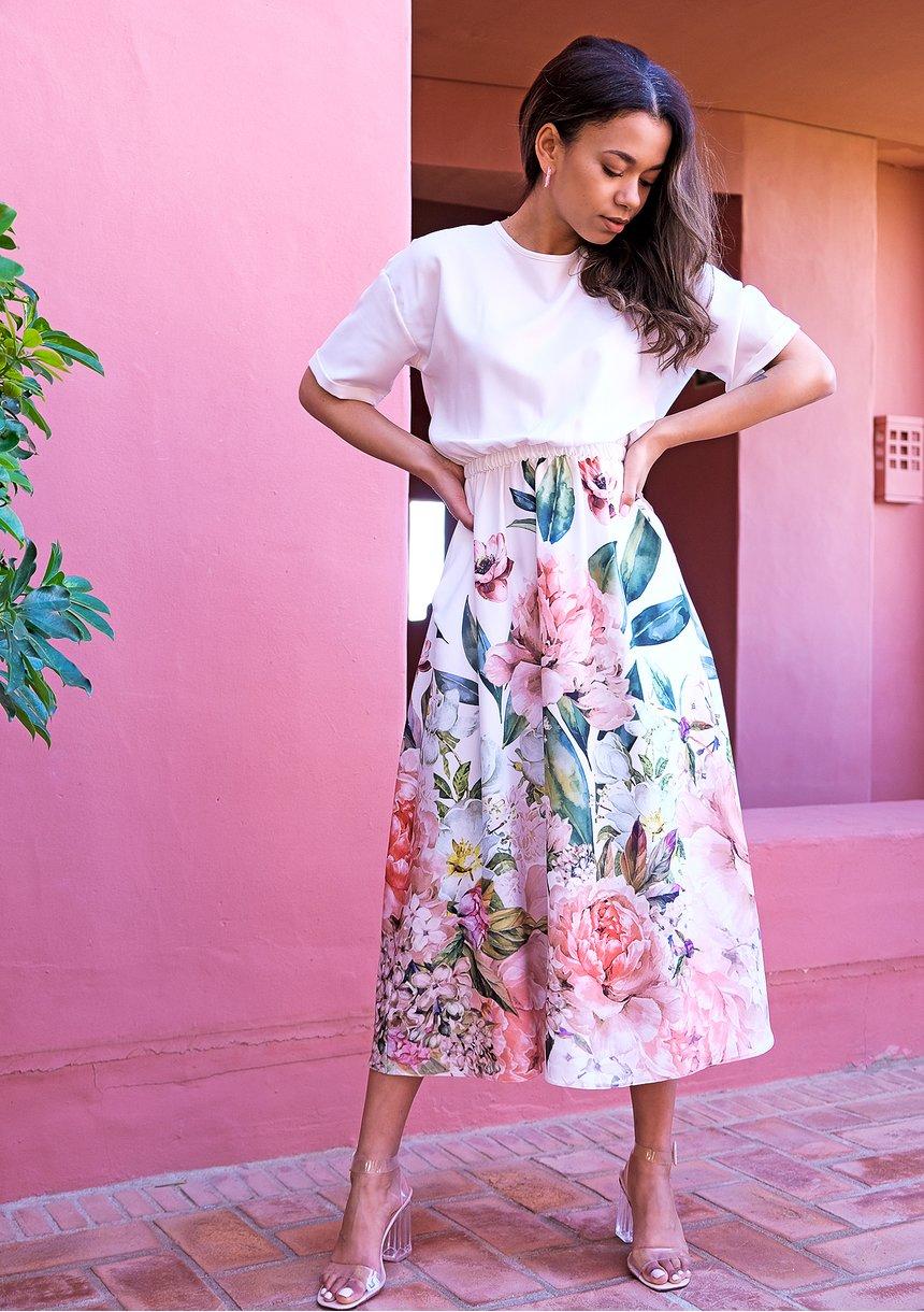 Sukienka midi z kwiatowym borderem Ecru