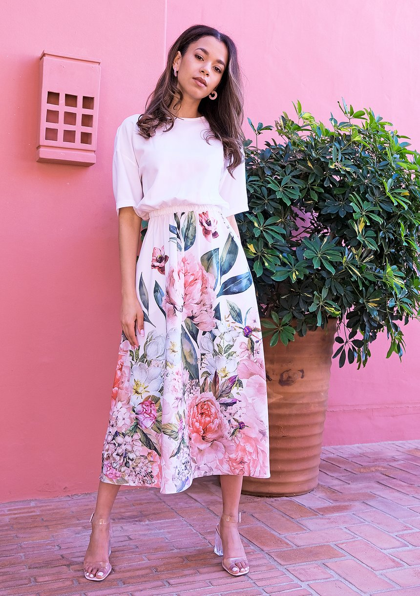 Midi ecru dress with floral print