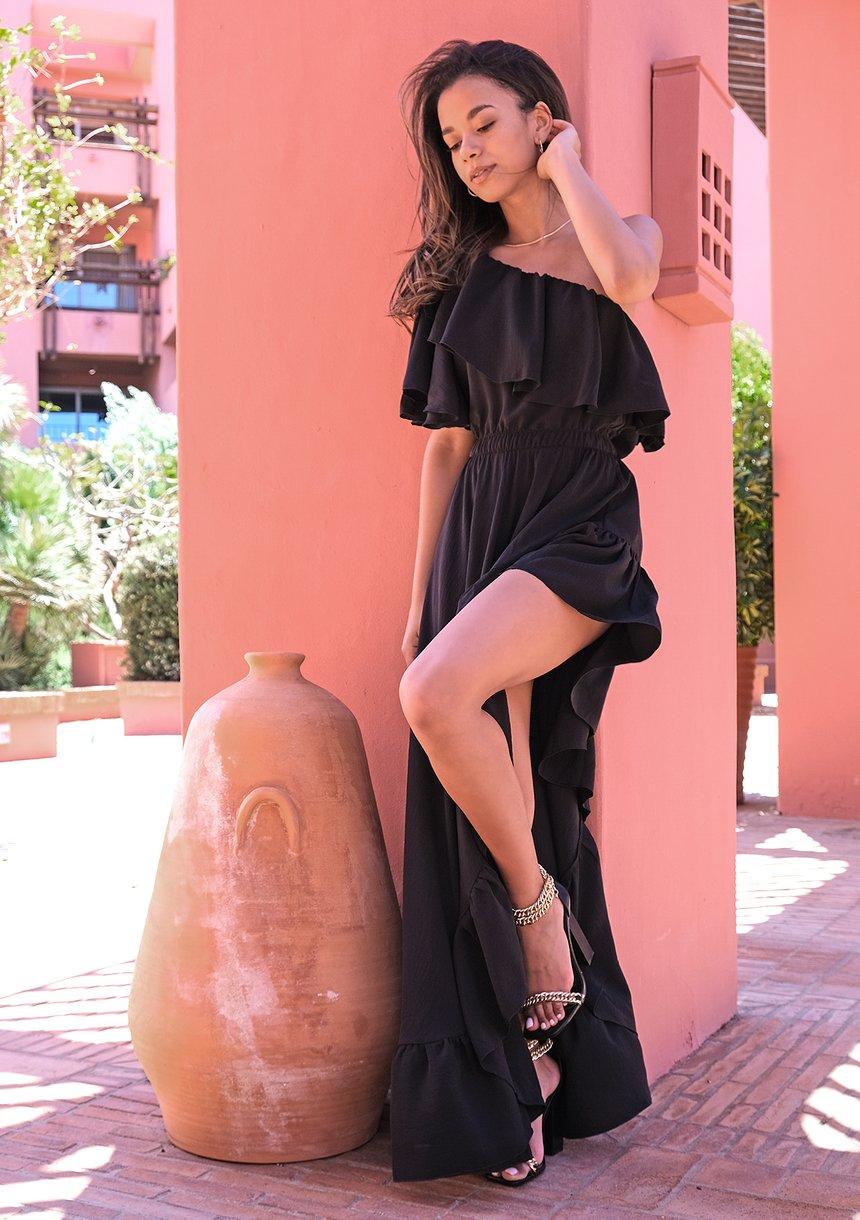 Sukienka maxi Black Ruffles