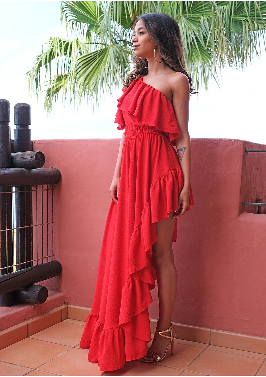 Sukienka maxi Red Ruffles