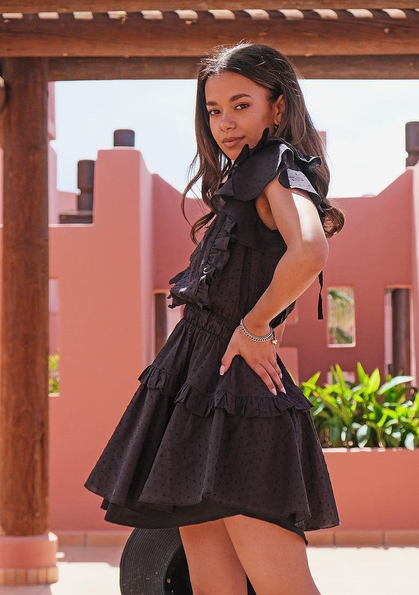 Sukienka boho z falbankami Czarna