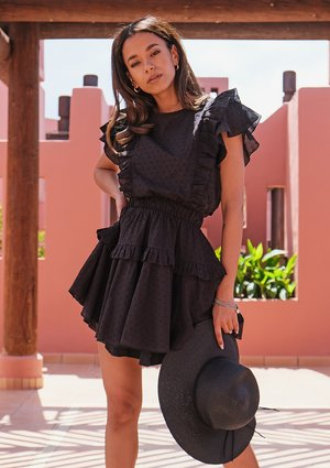 Mini boho black dress with frills