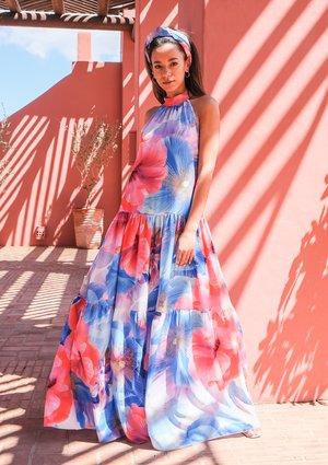 Loose maxi dress Blue Flowers