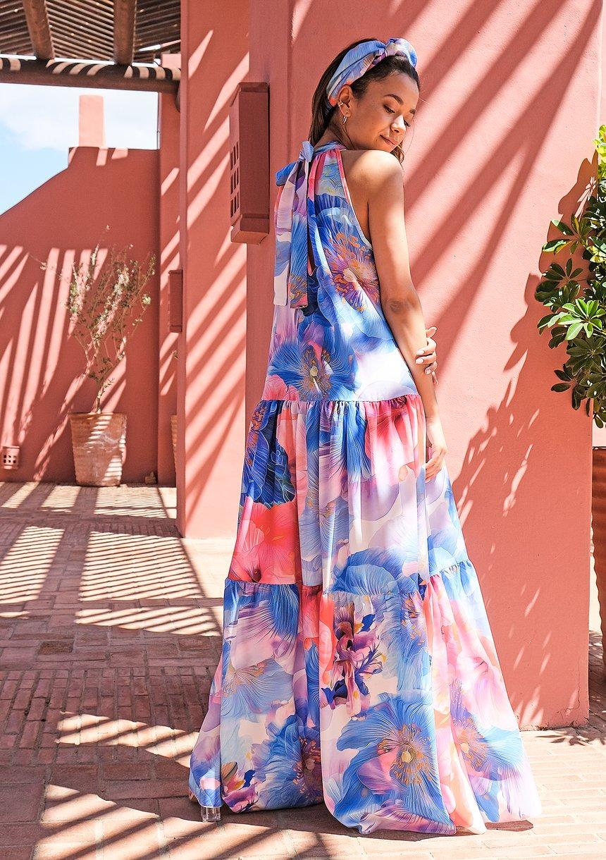 Letnia sukienka maxi Blue Flowers