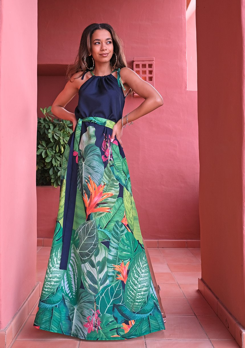 Maxi navy blue dress with a leaf pattern