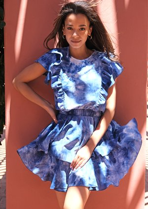 Mini tie dyed blue dress with frills